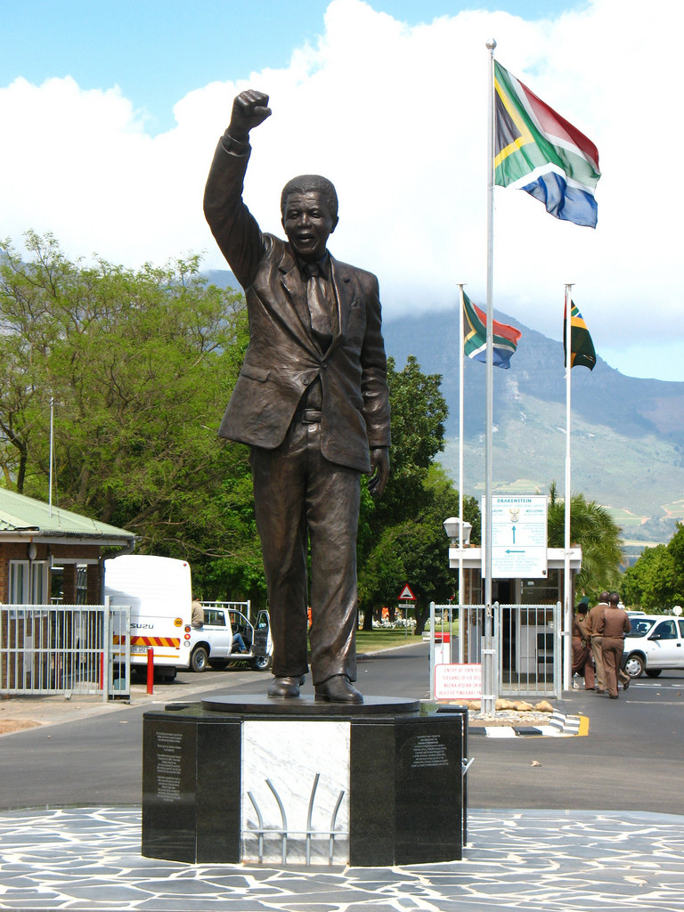 Statue of Nelson Mandela leaving Prison (Victor Verster Prison, Paarl Western Cape) February 11, 1990 after 27 years in prison