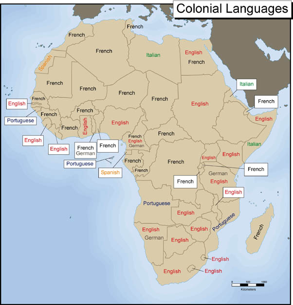 Map Colonial Languages Exploring Africa - Languages spoken by country