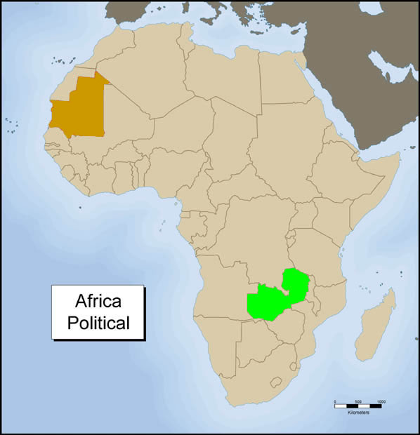 Africa Political - Zambia and Mauritania