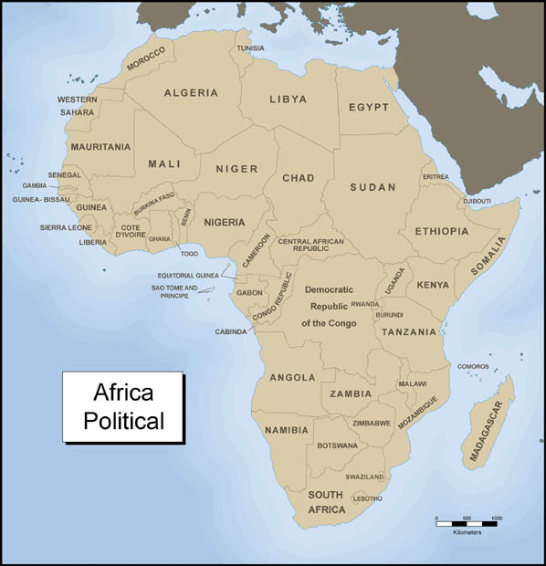 Module Five Activity Five Exploring Africa - World political map with country names