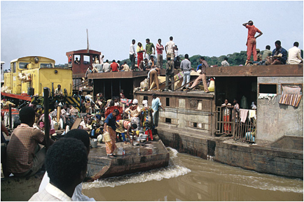 Barges and Boats on the Congo
