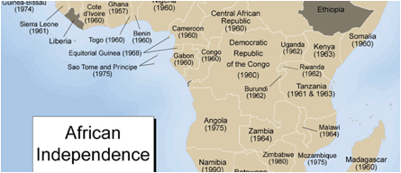 Central Africa Independence Map