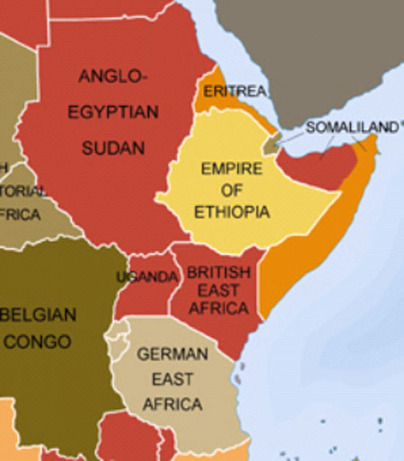 east africa map before colonization