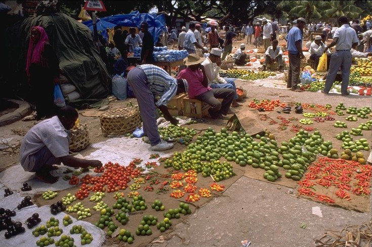 Produce Vendors at a Market in Zanzibar
