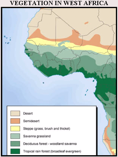 Vegetation in West Africa Map