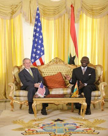 George Bush and John Kufuor