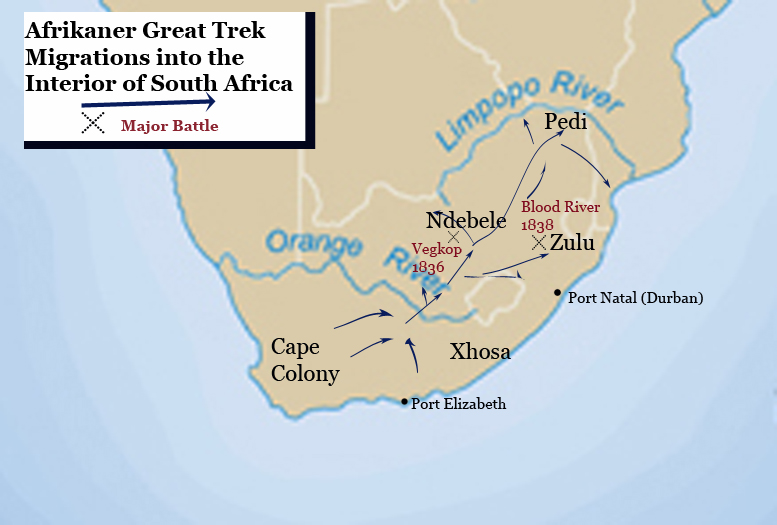 Afrikaner Great Trek Map