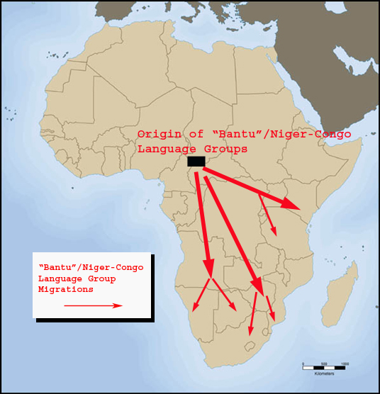 Origin of Bantu Language Groups Map