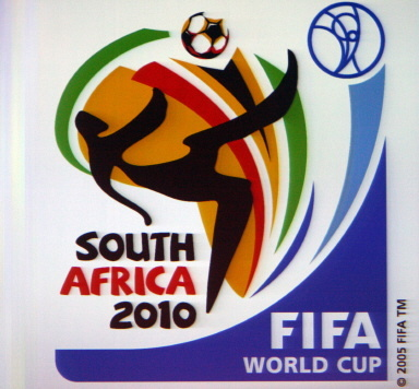 The official logo for the FIFA Football World Cup South Africa 2010 presented during a function in Berlin 07 July 2006. Even as this World Cup reaches a climax with Italy having booked a final spot against France or Portugal on Sunday, eyes are already turning to a South African jamboree in four years time. Organisers are hoping the first World Cup to be played on African soil will produce 'Football for a Better World' and FIFA will flag up preparations on Friday at Berlin's Brandenburg Gate, the setting for a giant party. AFP PHOTO / JOHN MACDOUGALL