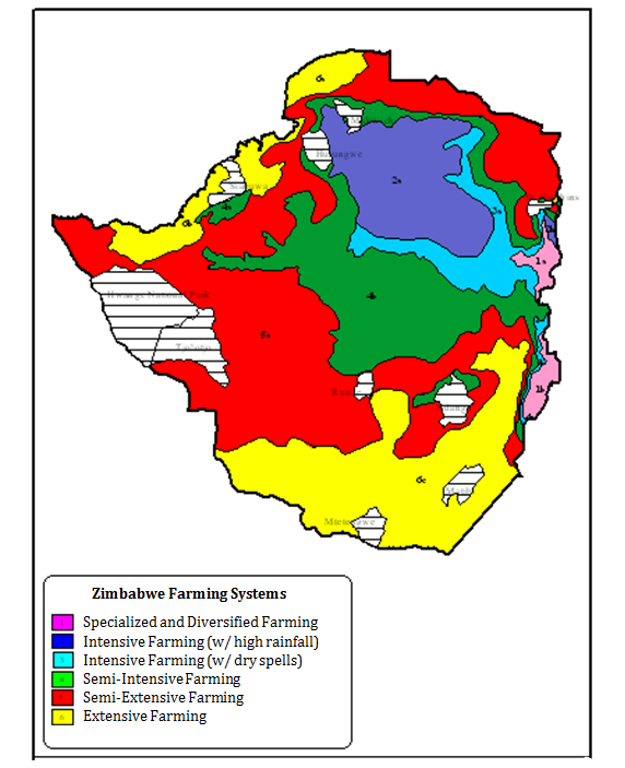 Zimbabwe Agriculture Zones Map