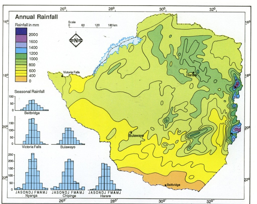Zimbabwe Annual Rainfall Map