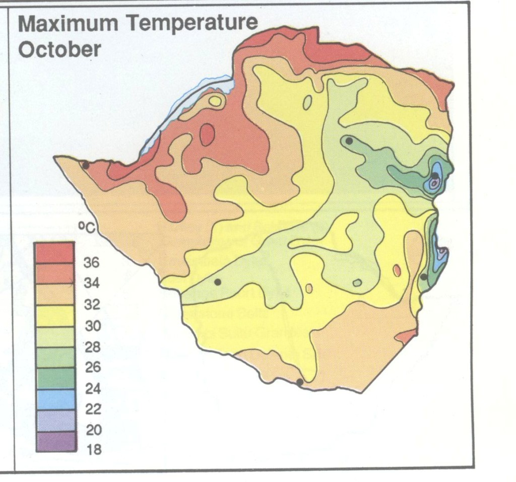 Zimbabwe Maximum Temp October Map