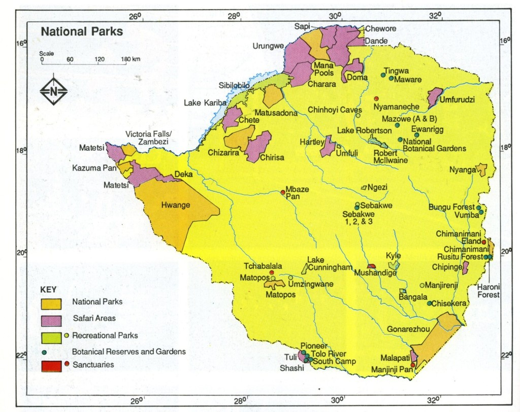 Zimbabwe National Parks map