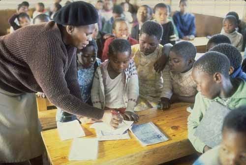 classroom in informal settlement