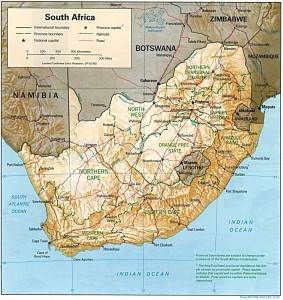 south africa physical and political map