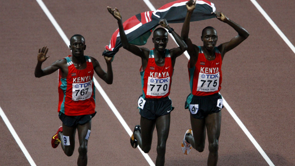 The 3000m steeplechase team celebrating 1-2-3 win in the Olympics