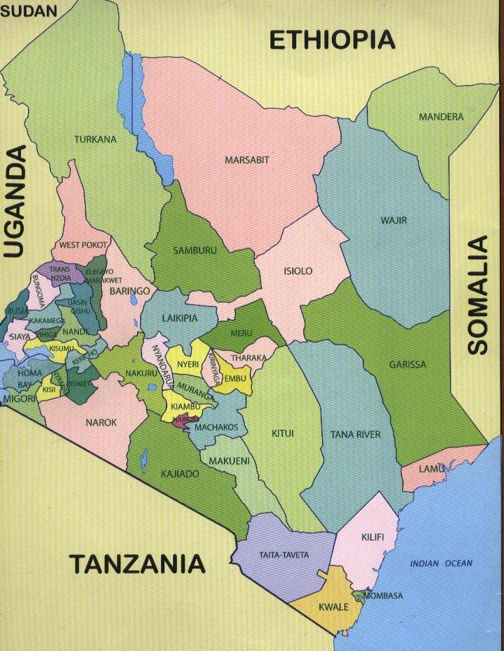 Map showing the 47 counties under the new constitution