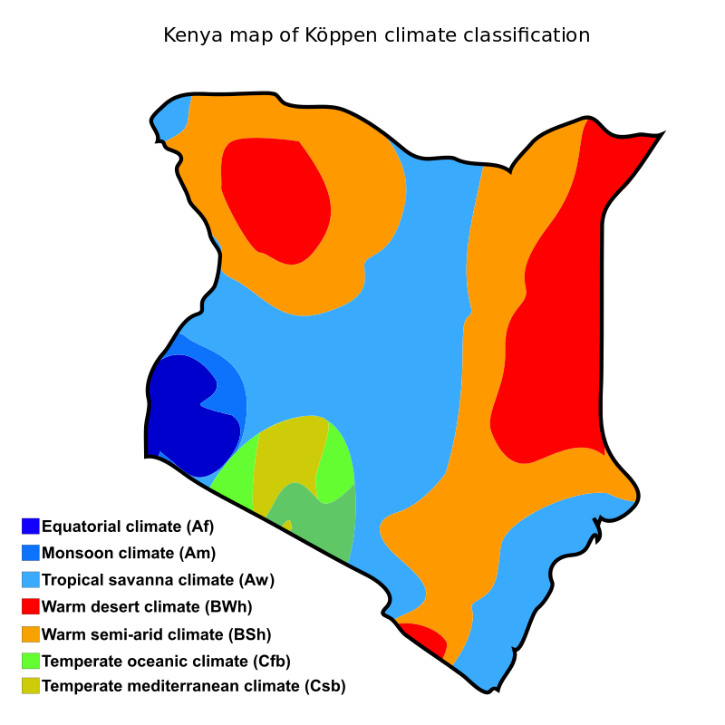 Kenya Map of Koppen Climate Classification