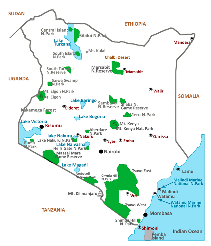 Major Lakes, National Parks, and Reserves in Kenya