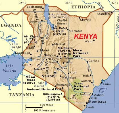 Major Mountains and Rivers in Kenya