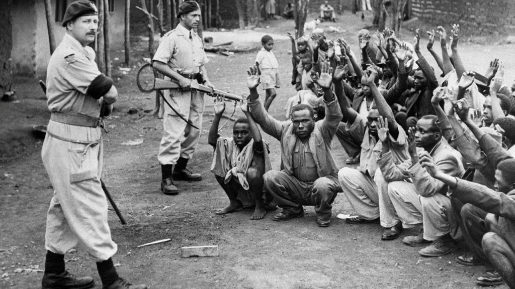 Colonial rule in Kenya: British troops round up Kenyan locals for interrogation during the Mau Mau uprising