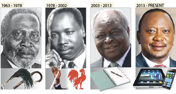 The four presidents of Kenya. From left to right: President Jomo Kenyatta, President Daniel Moi, President Uhuru Kenyatta (son of the first president).
