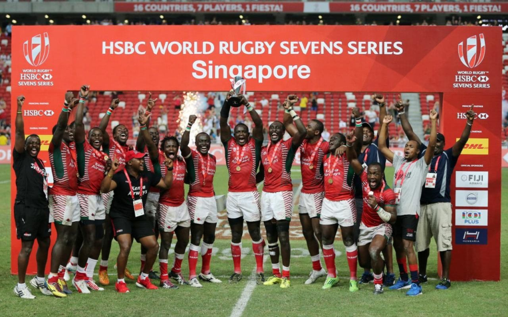 Kenya's rugby team celebrating its fist ever win in World Rugby Sevens Series in 2016