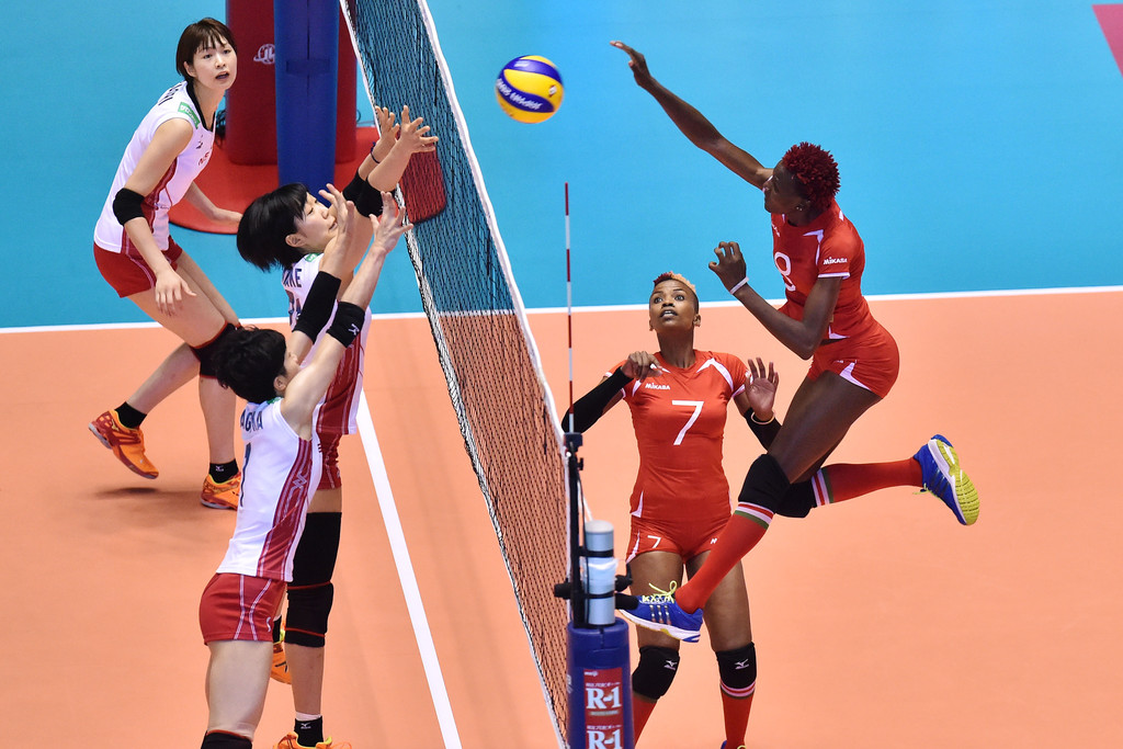 Kenya playing against Japan in International Volleyball Federation Women's Volleyball World Cup in Japan 2015