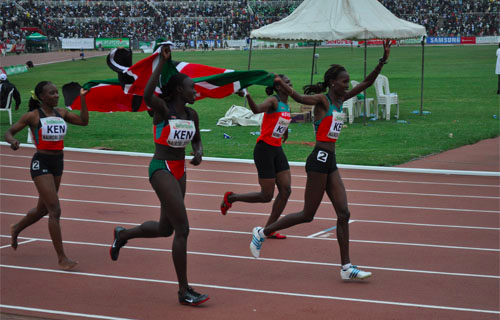 Women athletes celebrating their win