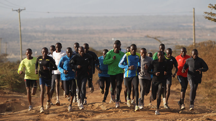 A team of Kenyan athletes in a training session