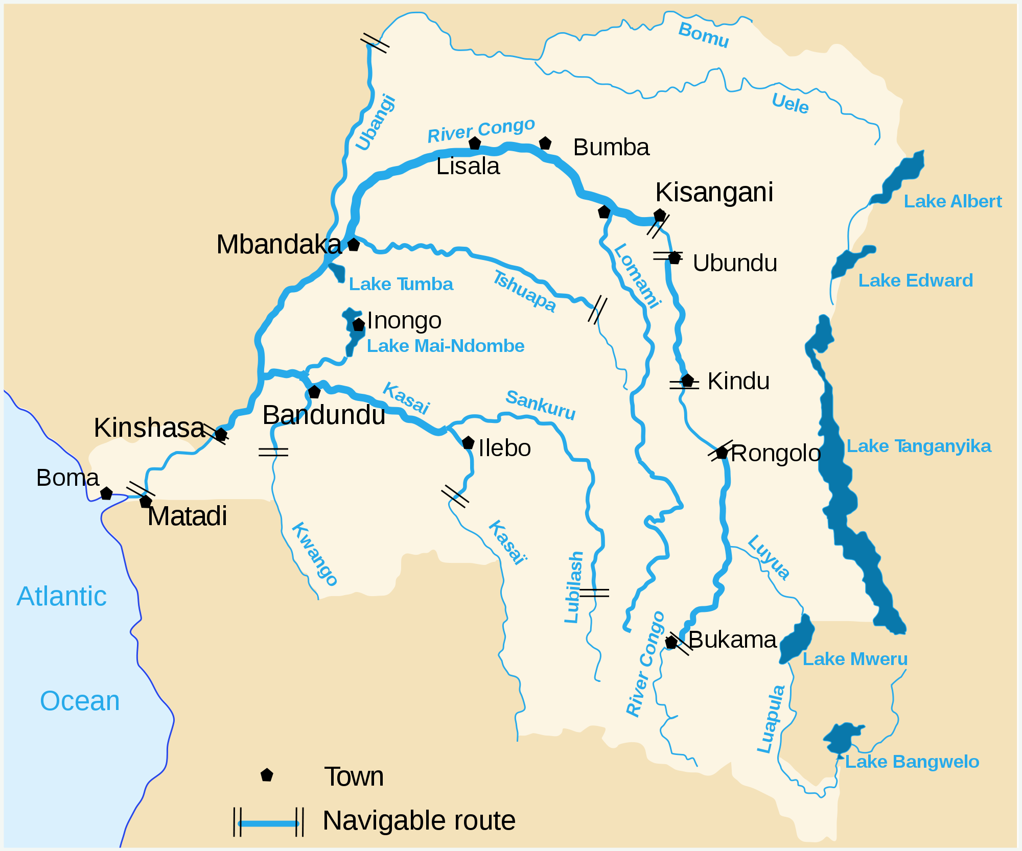 congo river south africa map