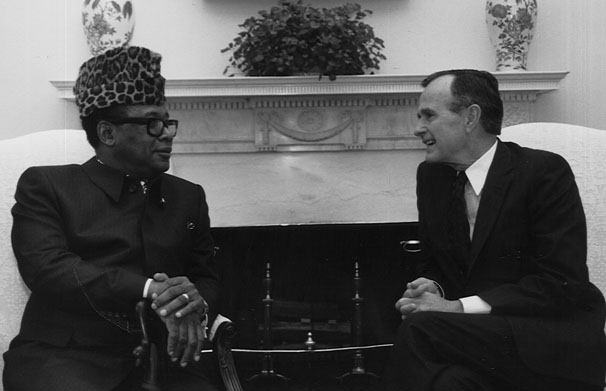 Mobutu with U.S. President George Bush, 1989
